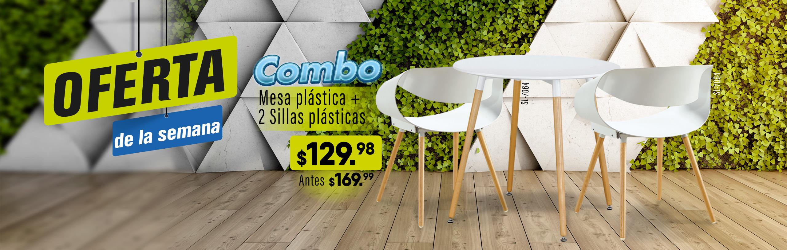 Ofertas-combo mesa silla blanca